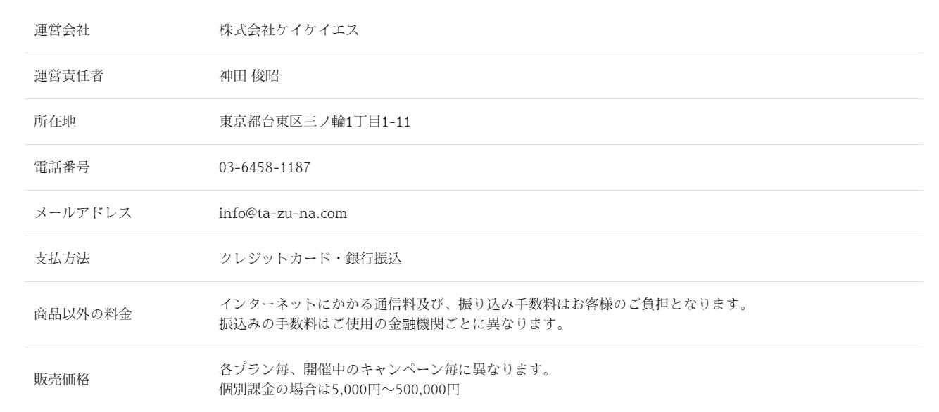 TAZUNA 販売価格が5,000円から50,000円と大きく変動