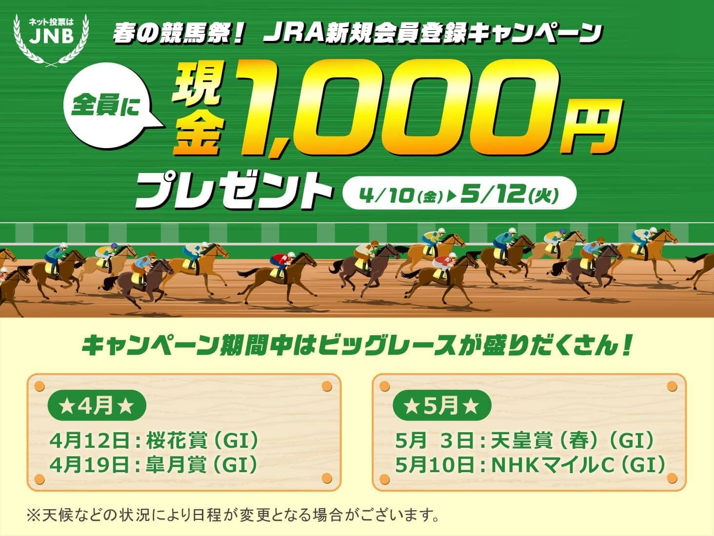 春の競馬祭!JRA新規会員登録キャンペーン